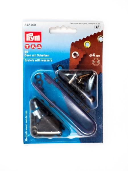 Ösen mit Scheiben, 4mm, Prym 542409 / 542407