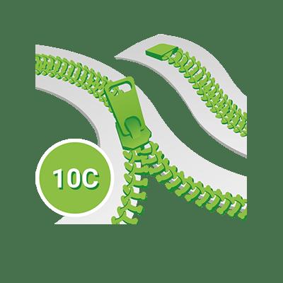 Standard 10C Spirale YKK, Teilbar einwege