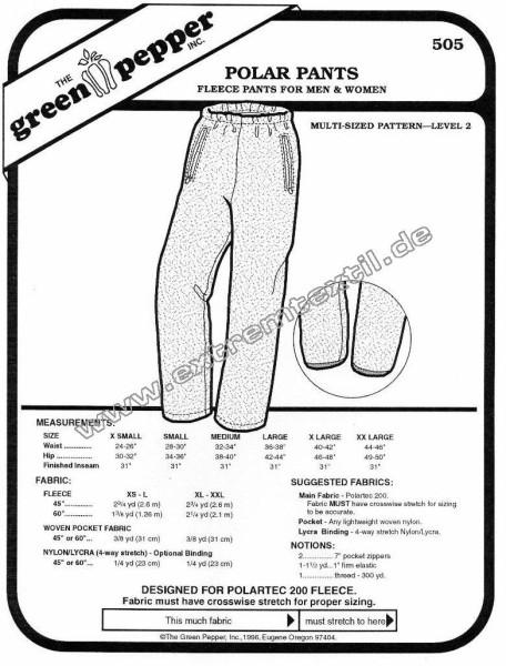 Fleecehose, Schnittmuster GP505