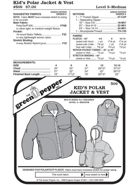 Fleecejacket and vest f. children pattern GP509