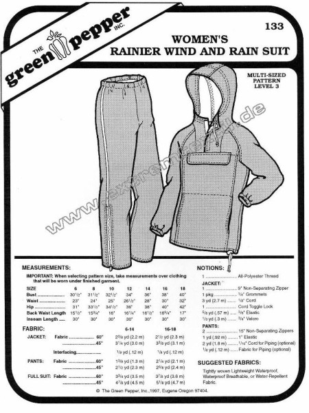 Rainier wind- and rainsuit f. women, pattern GP 133