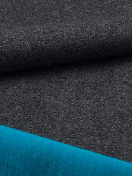 Gewebeart Laminat Loden-Softshell, Punchhole , mit Merinofutter, 330g/qm REST aquablau 0,25m