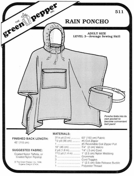 Regenponcho, Schnittmuster GP511