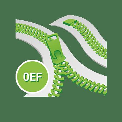 Standard 0EF Spirale YKK, Nicht teilbar