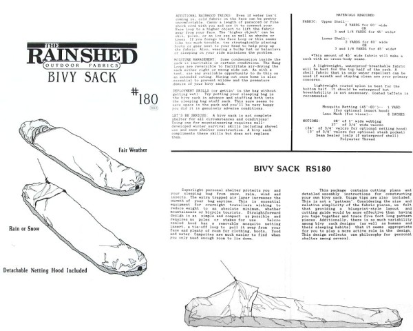 Biwaksack, Anleitung RS180