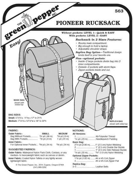 Pionner-Rucksack, Schnittmuster GP563
