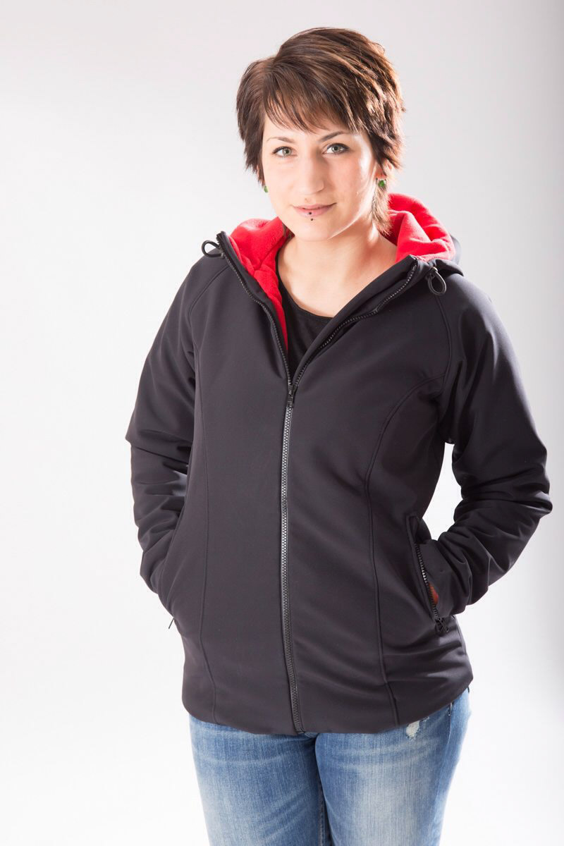 Softshell with red fleece lining
