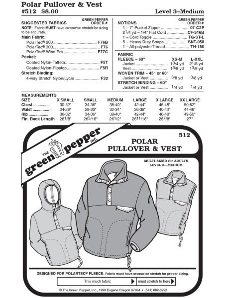 Fleece Pullover and vest pattern GP512