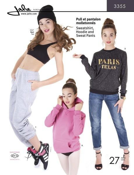 Jogginghose, Sweatshirt und Hoodie für Kinder und Frauen, Schnittmuster J3355