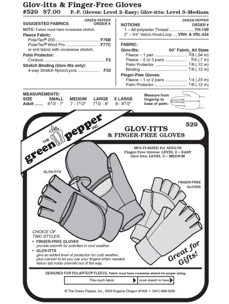 Glov-itts + finger-free gloves pattern GP529