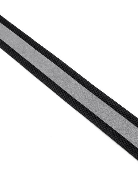 Gurtband (Polyester) mit Silber-Reflexaufdruck, 20mm