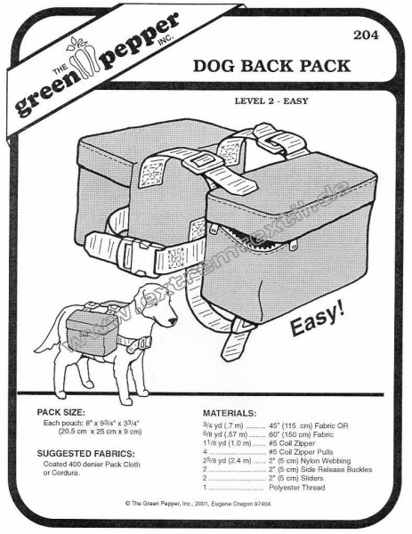 Dog back pack pattern GP204