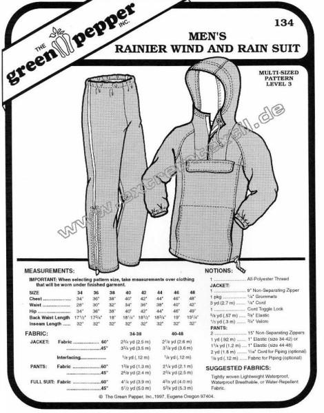 Rainier Wind- u. Regencombi f. Männer, Schnittmuster GP134
