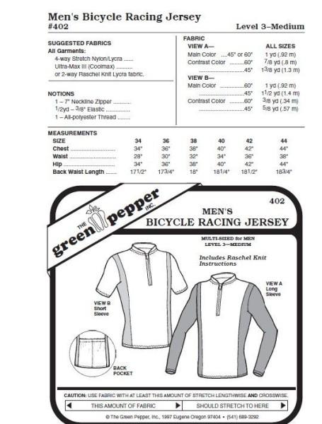 Bicycle racing jersey pattern f. men GP402