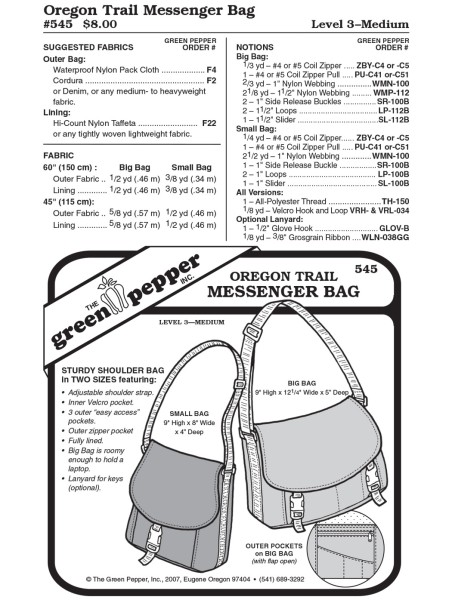 Oregon Trail Messenger Bag, GP545
