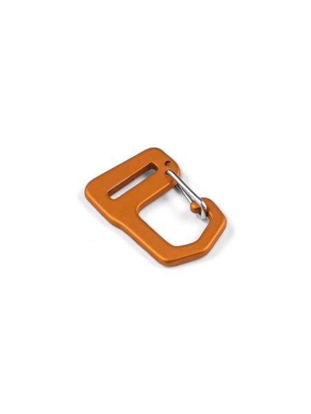Carabiner-hook with webbing loop, aluminium, anodized, 15mm
