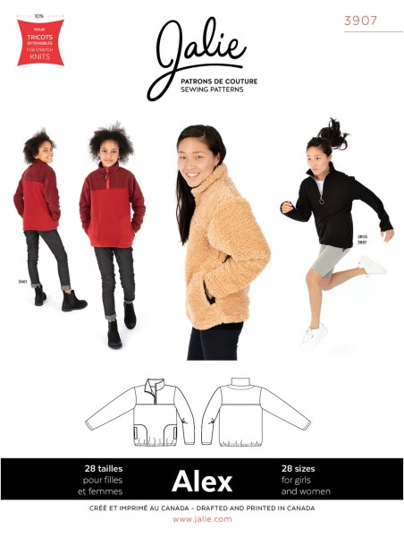 Half-Zip Pullover for Women/Children pattern J3907