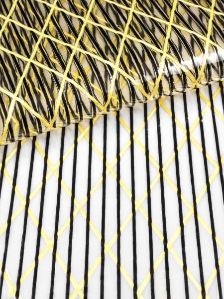 Sailing-laminate X301, aramide X-Ply and polyester, transparent/black/raw yellow, 170g/qsm