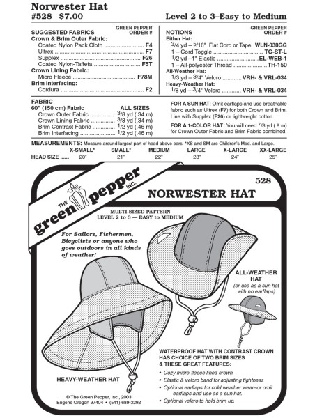 Südwester Hut, Schnittmuster GP528