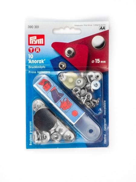 Press fasteners, 15mm, silver, Prym 390301