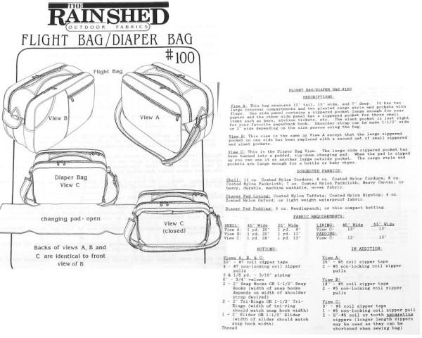 Flight Bag/Wickeltasche/Reisetasche Schnittmuster RS100