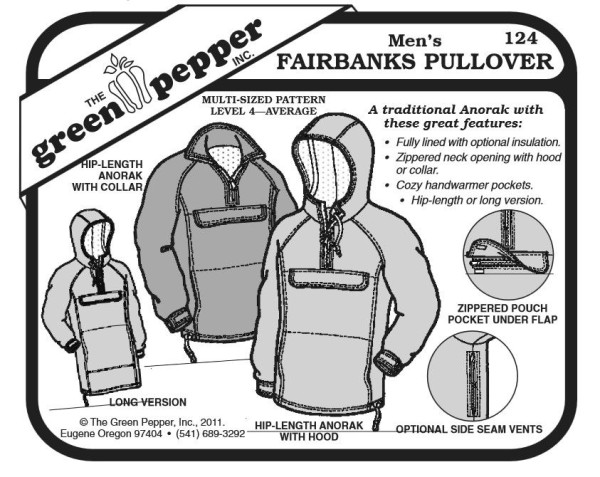Fairbanks Pullover f Erwachsene, Schnittmuster GP124