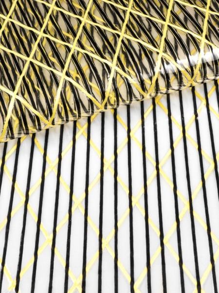 Gewebeart Folie, Laminat Segellaminat X301, Aramid X-Ply und Polyester, transparent/schwarz/rohgelb, 170g/qm, Kleinmenge